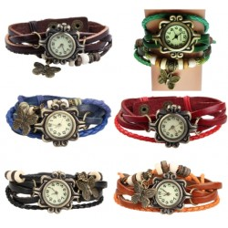 Leather Bracelet Watch With Butterfly Pendant