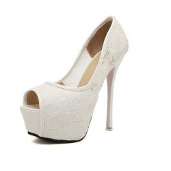 Women's Fashion Lace Peep Toe High Heel Shoes