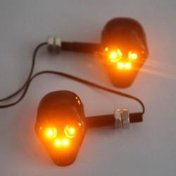 12V Schwarzer Motorrad Schädel LED Blinker Leuchtanzeige
