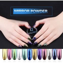 Magiczny proszek - żel UV do paznokci - brokat - lustrzany efekt - 12 sztuk