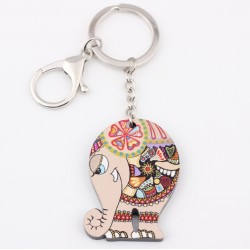 Colorful Acrylic Elephant Keychain