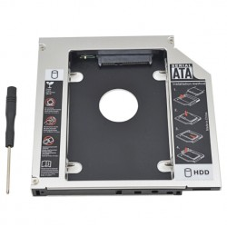 Box universale per optical bay in alluminio SATA HDD Caddy 12.7mm