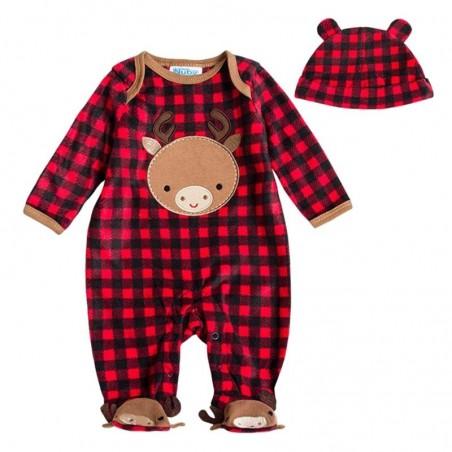 Unisex Baby Fleece Long Sleeve Hooded Warm Jumpsuit