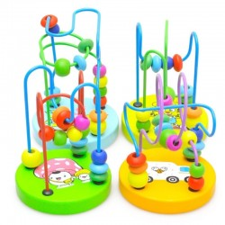 Kids Baby Colorful Wooden Mini Around Beads Educational Toy