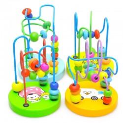 Kolorowe drewniane mini dookoła koraliki - dziecięca zabawka edukacyjna montessori
