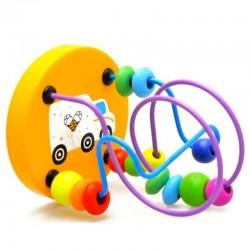 Colorful wooden mini around beads - montessori educational toy