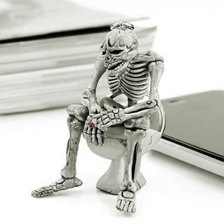 Skeleton Sitting On Toilet Rubber Keychain Keyring