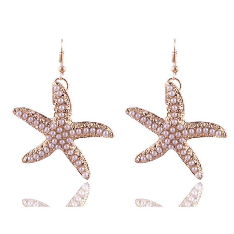 Gold Plated Pearl Starfish Earrings