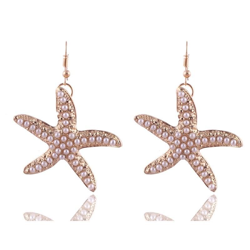 Pendientes estrella marina de oro y perla