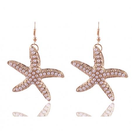Pearl starfish gold earrings