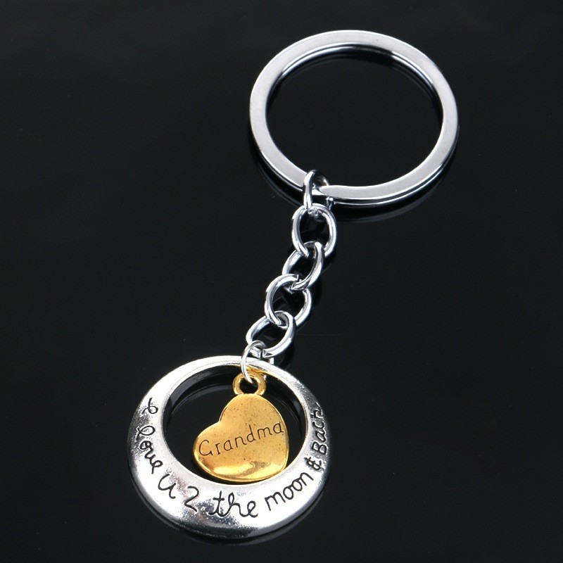 "Family "" to the moon "" silver keychain - keyring"