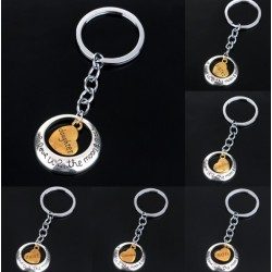 """Family """" to the moon """" silver keychain keyring"""