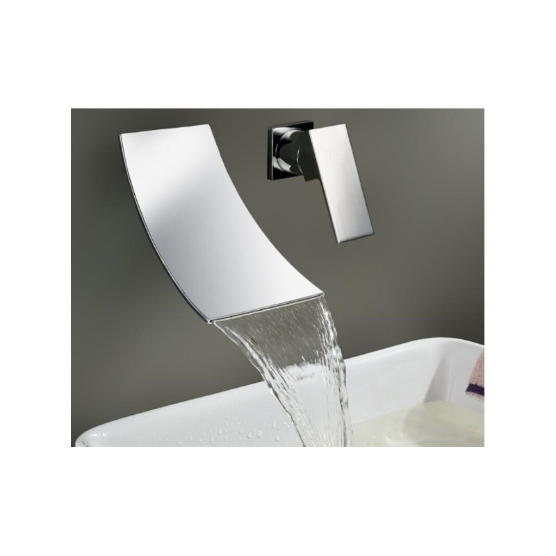 Chrome Brass Wall Mounted Waterfall Bathroom Faucet