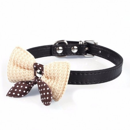 Knit Bowknot Adjustable Leather Dog Puppy Pet Collars Necklace
