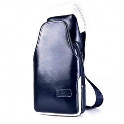 Men's PU Leather Waterproof Shoulder Crossbody Back Pack