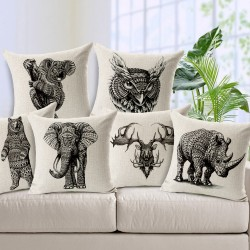 Printed Animals Pillowcase Cushion Cover Case Cotton 45 * 45cm
