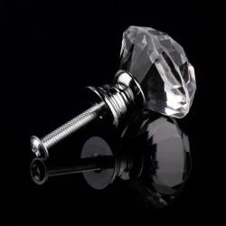 30mm Diamond Crystal Glass Alloy Door Drawer Wardrobe Pull Handle Knob