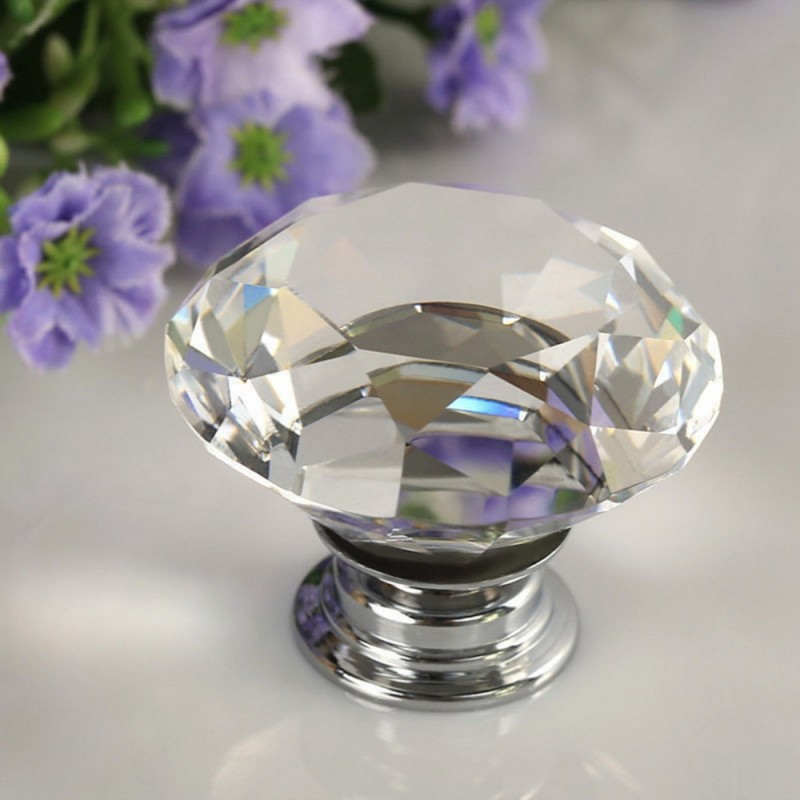30mm Kristalldiamant Türschublade Garderobengriffknopf