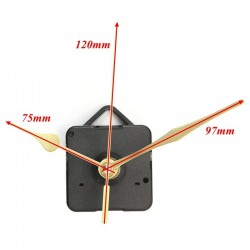 Gold Hands Quartz Black Wall Clock Movement Mechanism Repair Part
