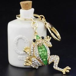 Chrystal Crown Frog Keyring Keychain