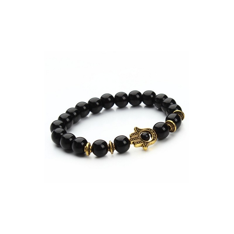 8mm Black Lava Energy Stone Beads Bracelet Gold Hamsa Hand