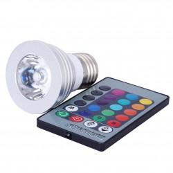 Bombilla LED con Control Remoto 3W E27 E14 GU10 RGB LED