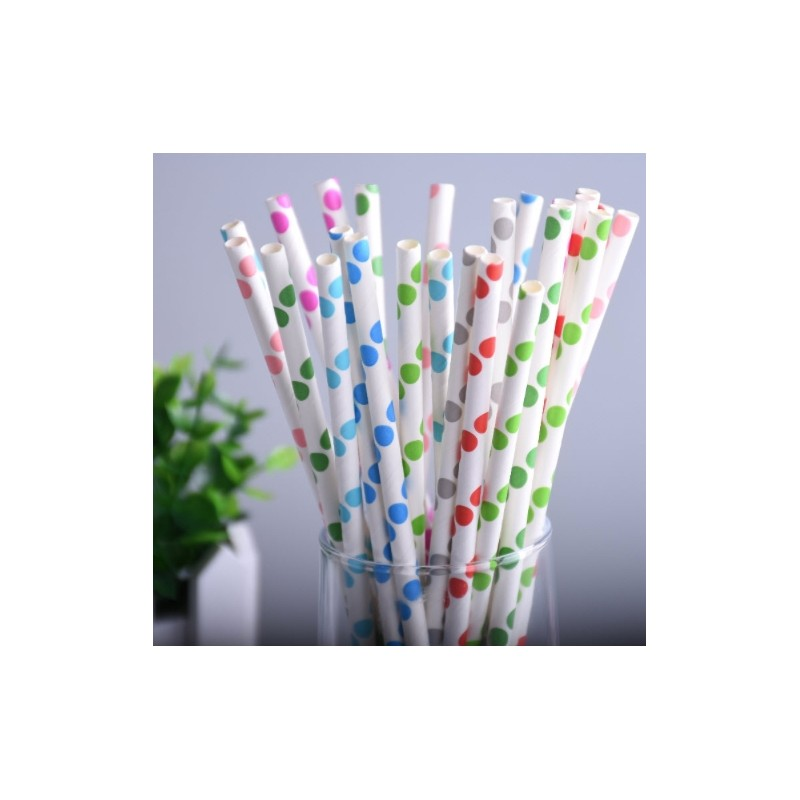 Colorful Polka Big Dot Paper Drinking Straws 25 pcs