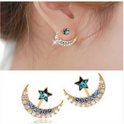 Moon Star Shape Crystal Green Rhinestone Stud Earrings