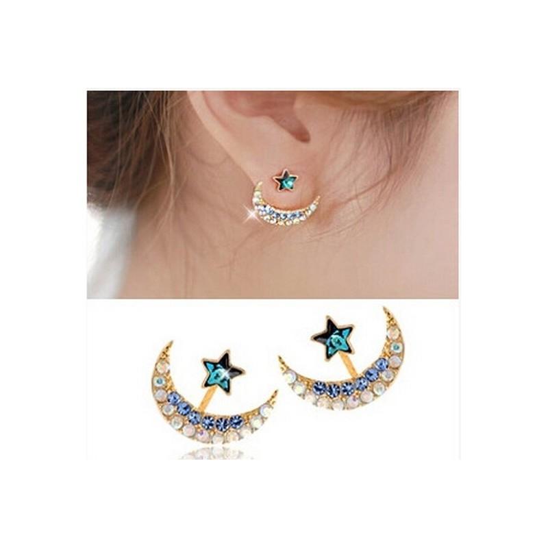 Moon & star - crystal stud earrings