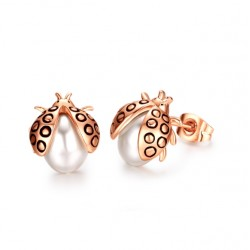 Ladybug gold plated pearl stud earrings