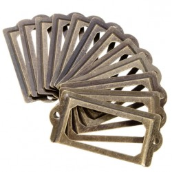 Cabinet Drawer Antique Brass Metal Label Frame Name Card Holder 12pcs