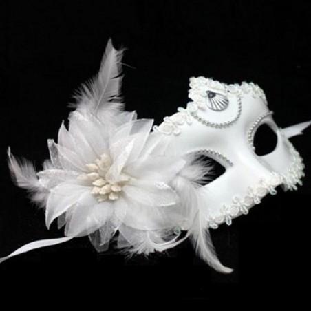 Màscara veneciana pluma y flor blanca