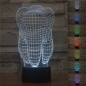 3D RGB Led Tooth USB Light Lamp