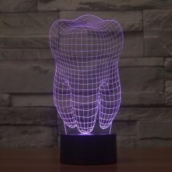 3D RGB Led Ząb USB Światło Lampa |