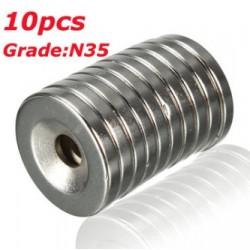 N35 Neodymowy Magnes Silny Dysk Pierścień Stożkowy Z 5mm Otworem 20 * 3mm 10szt