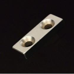 N35 Neodymowy Magnes Silny Blok Stożkowy Z  Dwoma 4mm Otworami 30 * 10 * 5mm