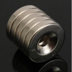 Aimant néodyme N52 - anneau rond fort avec trou de 4 mm - 15 * 3 mm - 5 pièces