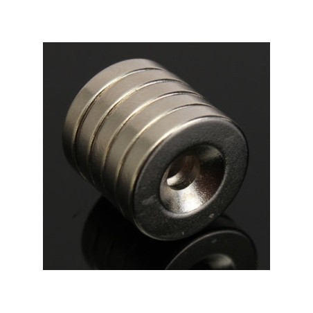 Imán de neodimio N52 - fuerte anillo redondo con orificio de 4 mm - 15 * 3 mm - 5 piezas