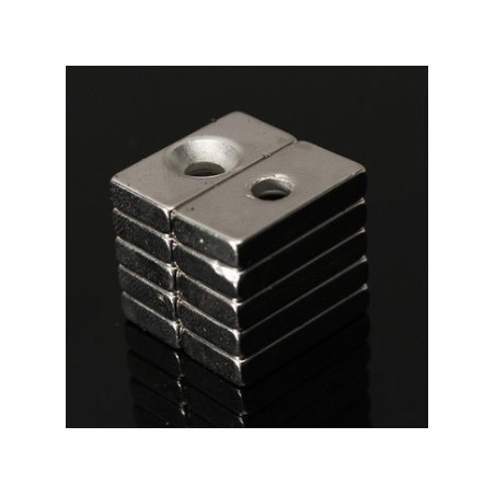 N35 Neodymium Magnet Strong Countersunk Block Cuboid With 4mm Hole 20 * 10 * 4mm 10pcs