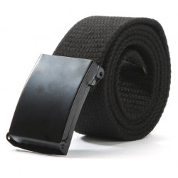 Unisex Cotton Canvas Metal Buckle Belt