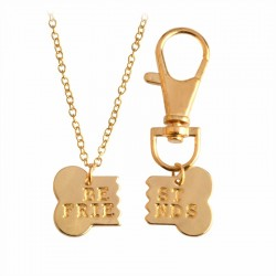 Gold Silver Dog Bone Best Friends Pendant Necklace & Keychain 2pcs Set