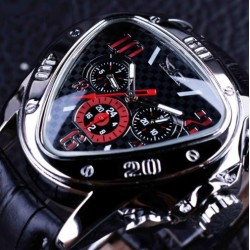 JARAGAR Luxury Automatic Triangle Echtlederband Herrenuhr |