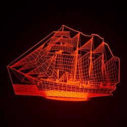 3D Statek Akryl Optyczny LED Nocna Lampka