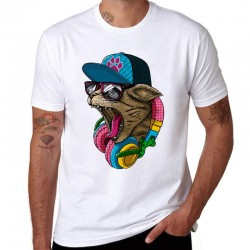 Crazy DJ Cat design - cotton t-shirt