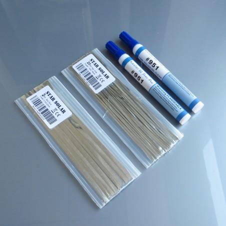 20 Meters Tabbing Tab Wire + 2 Meters PV Ribbon Bus Wire + 2Pcs 951 Soldering Rosin Flux Pen For DIY Soldering Solar Cell Panel