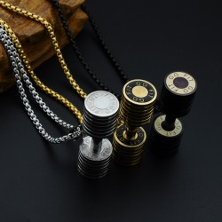 Men's Stainless Steel Dumbbell Pendant Necklace
