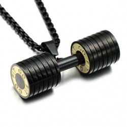 Men's Stainless Steel Dumbbell Pendant With Necklace  
