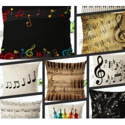 Music notes - theme - cushion cover - cotton 45 * 45cm