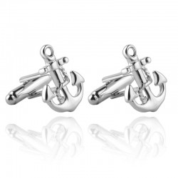 Silver Boat Anchor Men's Cufflinks