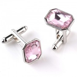 Pink Crystal Metal Men's Cufflinks